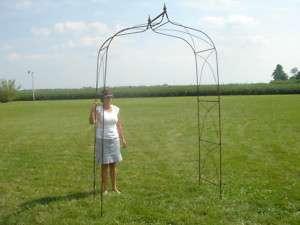 Extra Large Wrought Iron Garden Arbor   Finial Top Arch