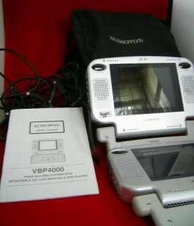 Audiovox VBP4000 Portable DVD 2 Monitors & 5 Cords LOT