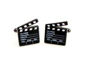 Hollywood Movie Director Clapboard Black Novelty Cufflinks