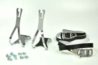 BIKE PEDAL STEEL TOE CLIPS & LEATHER STRAPS Set  Black