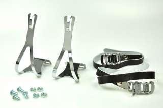 BIKE PEDAL STEEL TOE CLIPS & LEATHER STRAPS Set  Black
