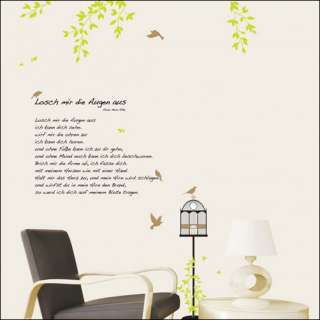 BIRD CAGE GARDEN & POEM Decor Mural Art Removable Wall Sticker KR 50