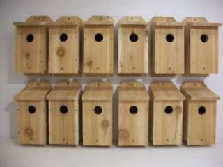 12 BLUEBIRD BIRDHOUSES CEDAR WOOD BIRD HOUSE NEST BOX