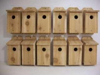 12 BLUEBIRD BIRDHOUSES CEDAR WOOD BIRD HOUSE NEST BOX |