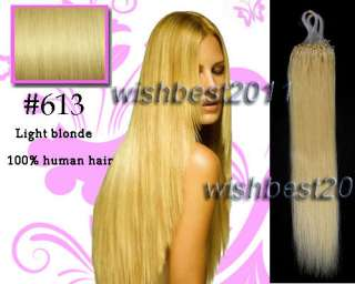 micro ring tips human hair extensions 613 light blonde 50g straight