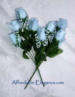 Roses ~ LIGHT BLUE ~ Silk Wedding Flowers Bouquets Centerpieces