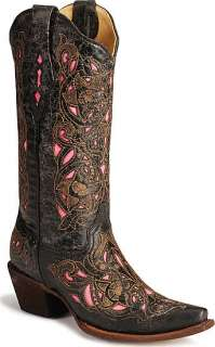 Corral Black/Pink Laser Overlay Ladies Western Boots