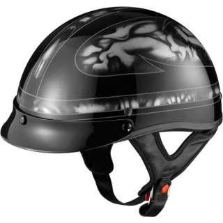 GLX DOT Half Motorcycle Helmet, Skull Silver, XL