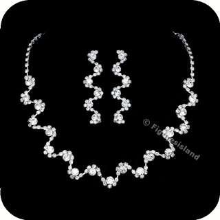 Bridal Wedding Rhinestone Crystal Choker Necklace Earrings Set 1286