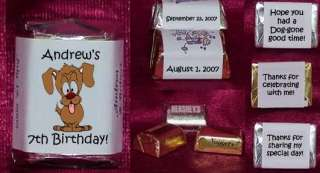 Dogs Puppy Wolf Candy Wrappers Birthday Party Personalized Favors