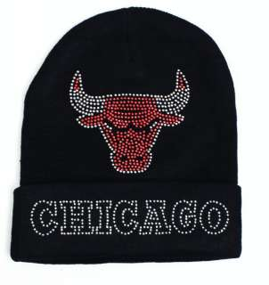 CHICAGO BULLS BEANIE Rhinestone HAT, CHICAGO BULLS HAT, CHICAGO BULLS