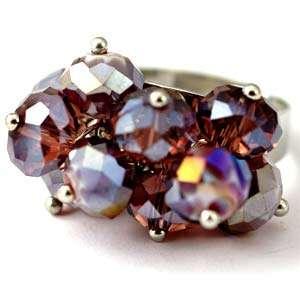 d8173 Purple Wedding Cluster Crystal Gems Beads Adjustable Ring