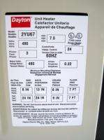 Dayton 2YU67 UNIT HEATER, ELECTRIC, GARAGE, SHOP, 480V 3P 7.5 kW NEW