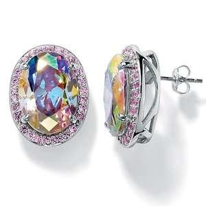 Palm Beach Jewelry Silvertone Aurora Borealis/Pink Cubic