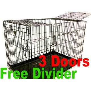 24 3 Door Black Folding Dog Crate Cage Kennel Three 2