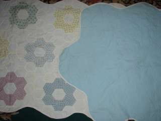 Hand Stitched Grandmothers Flower Garden Quilt Table Runner