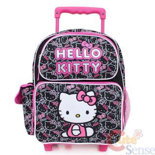 Sanrio Hello Kitty School Roller Backpack Rolling Bag Medium Black