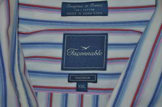FACONNABLE FACOCLUB LONG SLEEVE BLUE RED PINK WHITE COTTON SHIRT MENS