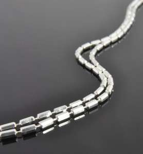 Italian Estate Vintage Sterling Silver Extra Long Bead Chain Necklace