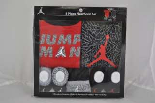 NIKE AIR JORDAN 5 FIVE PIECE INFANT / BABY LAYETTE SET BODYSUIT 0 6