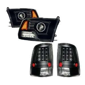 09 11 Dodge Ram Black CCFL Halo Projector Headlights + LED Tail Lights