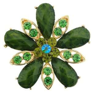 Green Crystal Goldtone Flower Brooch Pin   1.5 Length Jewelry