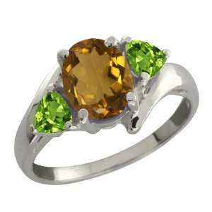 Ct Oval Whiskey Quartz and Green Peridot Sterling Silver Ring Jewelry