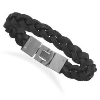 New Stainless Steel 8.5 Braided Black Leather Bracelet