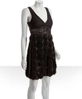 Sue Wong black lace back v neck rosette detail dress   up to