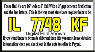 color JET SKI Boat Registration NUMBERS DECAL STICKER