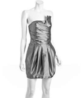Romeo & Juliet Couture silver taffeta fan pleated strapless dress