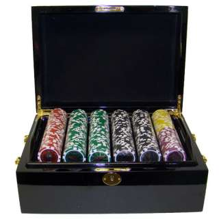 500 Las Vegas Black Mahogany Wood Case Poker Chips Set
