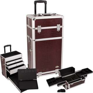 Makeup Rolling Train Case Cosmetic Aluminum CR1 With Long Drawers