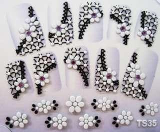 3D Nail Art Stickers Decal Black Lace Purple Rhinestone