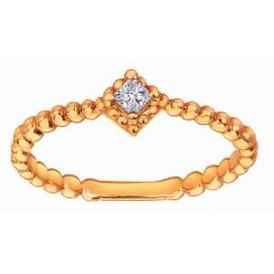 18K Rose Gold Solitaire Setting Princess Cut Diamond Twisted Band Ring