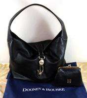 NEW DOONEY & BOURKE LEATHER HOBO Bag BLACK w/ Logo Lock and Coin PURSE