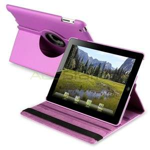 360 Rotating Magnetic Hard Cover Leather Case w/ Swivel Stand Purple
