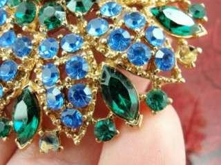 Rhinestone Big Pendant Three Strand Gold Tone Chain Necklace