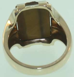 10k yellow gold mens tigers eye trojan ring gents 10.1g vintage estate
