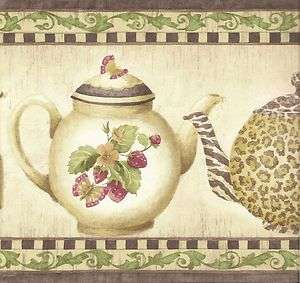 Kitchen Wallpaper Border / Rooster Leopard Tea Pots Wall Border