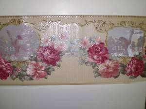 Gold Satin Border with Pink Flowers and Birds