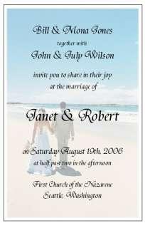 Beach Couple Wedding Invitations SAMPLE