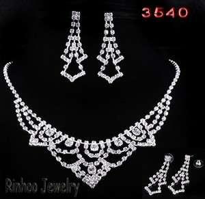 Square Bib White Rhinestone Crystal Clear Wedding Bridal Necklace