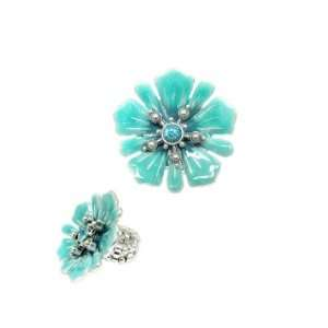 Turquoise Color Enamel Flower & Glass Crystal Stretch Ring
