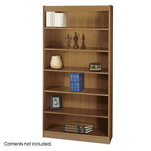 Safco Bookcase 1505 Square Edge 6 Shelves Wood Veneer Bookcases 1505