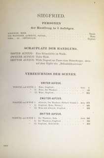 Wagner Siegfried Score 1903 Der Ring des Nibelungen